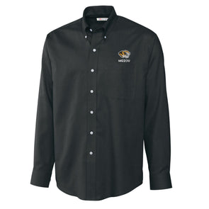 Mizzou Tiger Head Wrinkle Resistant Black Buttoned Down Shirt