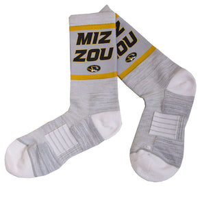 Mizzou Oval Tiger Head Miz Zou Strideline Grey Calf Length Socks