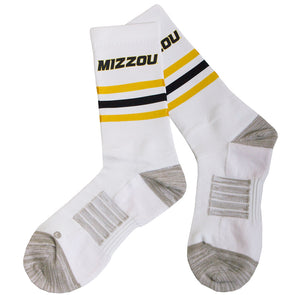 Mizzou Strideline Black and Gold Stripe White Calf Length Socks