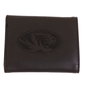Mizzou Oval Tiger Head Black Engraved Trifold Wallet
