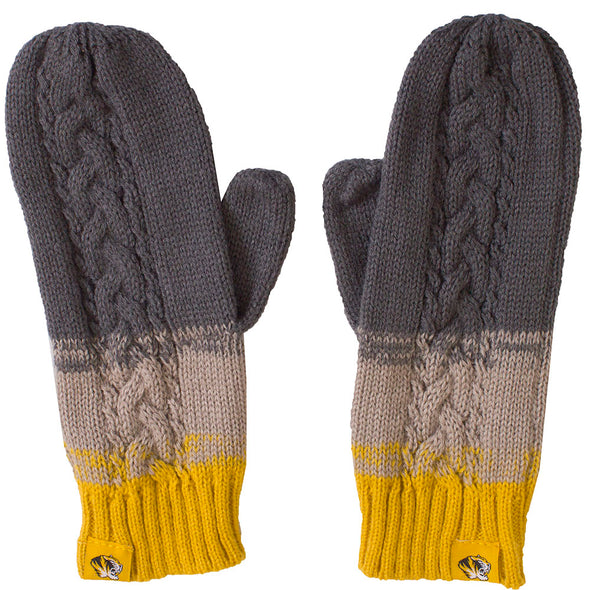 Mizzou Tiger Head Grey and Gold Knit Mittens