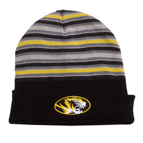 Mizzou Oval Tiger Head Black, Gold and Grey Stripe Cuffed Beanie