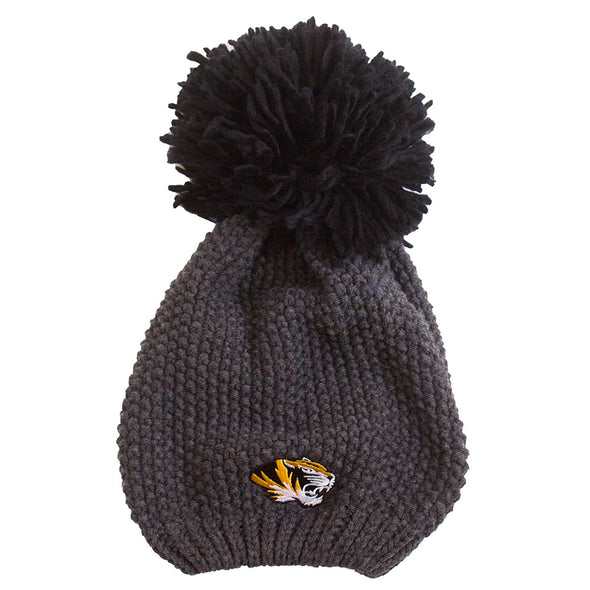 Mizzou Tiger Head Charcoal Grey Slouchie Pom Beanie