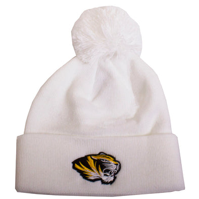 Mizzou Tiger Head White Pom Cuffed Beanie