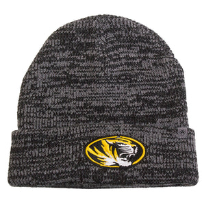 Mizzou Oval Tiger Head Black and Grey Knit Cuffed Beanie