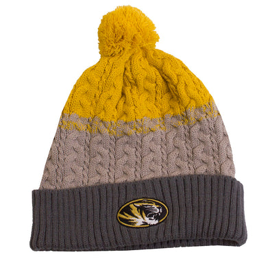 Mizzou Oval Tiger Head Gold and Grey Knit Cuffed Beanie