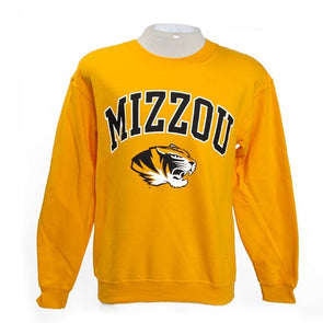 Mizzou Tiger Head Gold Crew Neck Sweatshirt