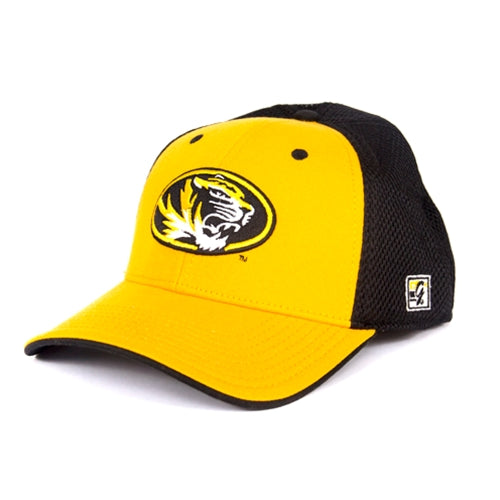a55a012bbac Mizzou Oval Tiger Head Gold Mesh Back Stretch-Fit Hat