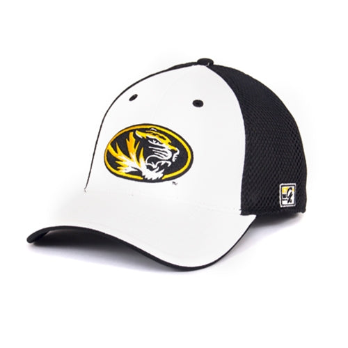 Mizzou Oval Tiger Head White Mesh Back Stretch-Fit Hat