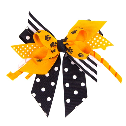 Black & Gold Polka Dot Paw Print Hair Bow
