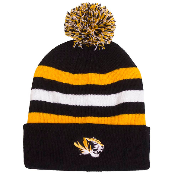 Mizzou Tiger Head Youth Black and Gold Stripe Cuffed Pom Beanie