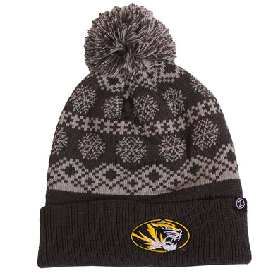 Mizzou Oval Tiger Head Grey Winter Pattern Pom Cuffed Beanie