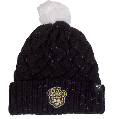 Mizzou Beanie Tiger Women's Black Sparkly Cable Cuffed Pom Beanie
