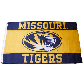 Missouri Tigers Oval Tiger Head Black and Gold Flag