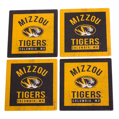 Mizzou Tigers Oval Tiger Head Columbia MO Black and Gold Coaster Set