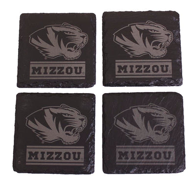 Mizzou Tiger Head Black Slate Coaster Set