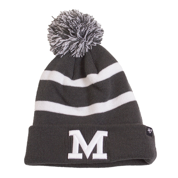 Mizzou Block M Oxford Grey and White Pom Beanie