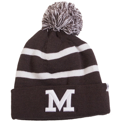 Mizzou Block M Charcoal Grey and White Pom Beanie