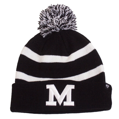 Mizzou Block M Black and White Pom Beanie