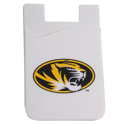 Mizzou Oval Tiger Head White Silicone Phone Card Holder