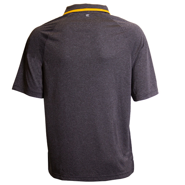 Oval Tiger Head Charcoal Grey Pinstripe Polo