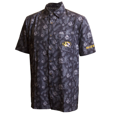 Mizzou Oval Tiger Head Tropical Floral Black and Grey Dress Shirt