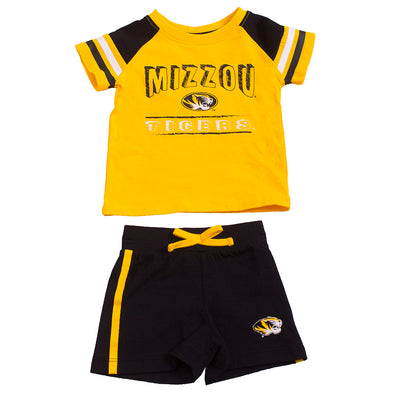 Mizzou Tigers Oval Tiger Head Infant Black and Gold Striped T-Shirt and Short Set