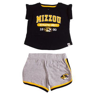 Mizzou Oval Tiger Head  Athletic Dept. 1890 Toddler Black and Grey T-Shirt and Short Set