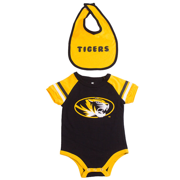 Mizzou Tigers Oval Tiger Head Infant Black and Gold Onesie and Bib Set