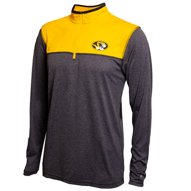 Mizzou Oval Tiger Head Gold and Grey Pinstripe  1/4 Zip Jacket
