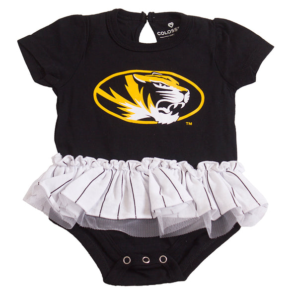 Mizzou Oval Tiger Head Infant Black and White Tutu Onesie