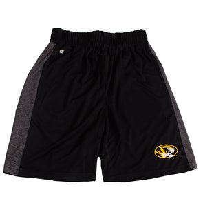 Mizzou Oval Tiger Head Youth Black and Grey Pinstripe Shorts