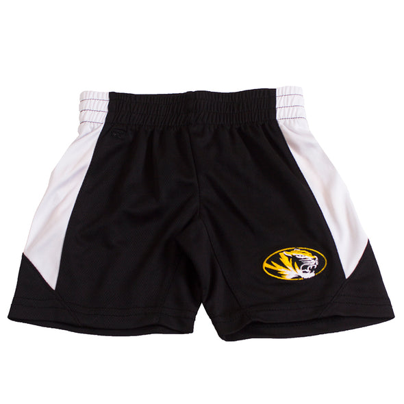 Mizzou Oval Tiger Head Toddler Black and White Shorts
