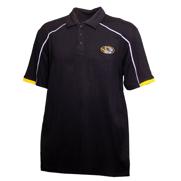 Mizzou Oval Tiger Head Black Polo