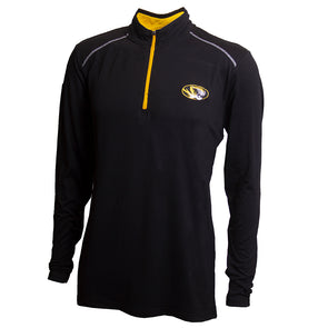 Mizzou Oval Tiger Head Black 1/4 Zip Jacket