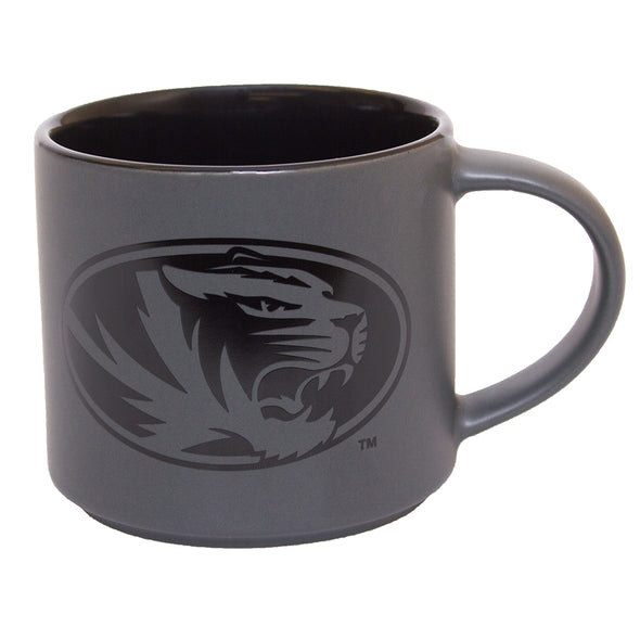Mizzou Oval Tiger Head Stacked MU Charcoal Grey and Black Ceramic Mug