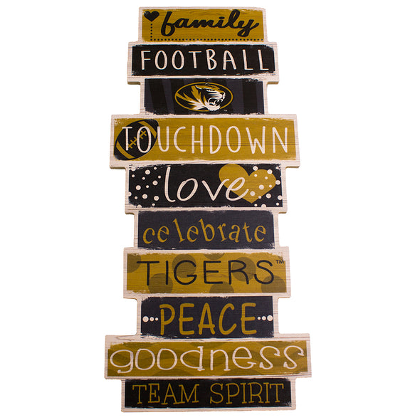 Mizzou Oval Tiger Head Celebrate Football Black and Gold Sign