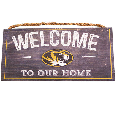 Mizzou Oval Tiger Head Welcome to our Home  Distressed Sign