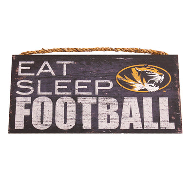 Mizzou Oval Tiger Head Eat Sleep Football Distressed Sign