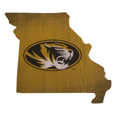 Mizzou Oval Tiger Head Missouri Outline Gold Sign