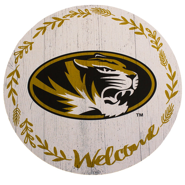 Mizzou Oval Tiger Head Welcome Circle Sign