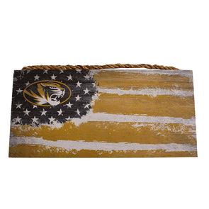 Mizzou Oval Tiger Head Distressed Flag Sign