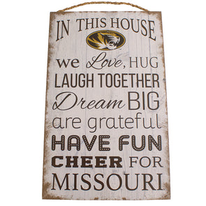 Mizzou Oval Tiger Head In This House Sign