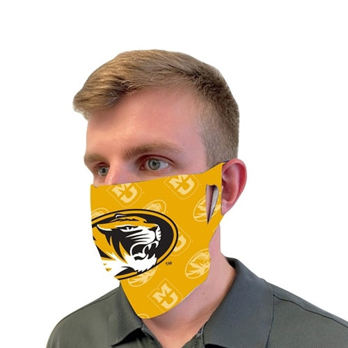 Mizzou Fan Mask Scattered Tiger Print Gold