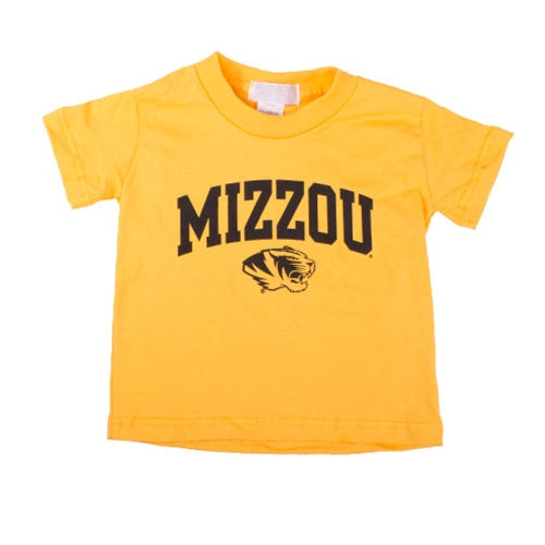 Mizzou Toddler Tiger Head Archblock Gold Short Sleeve Crew Neck T-Shirt