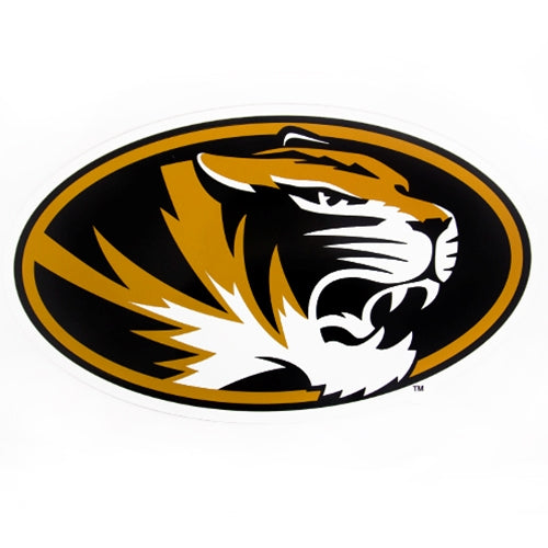 Mizzou Oval Tiger Head Black & Gold Car Magnet