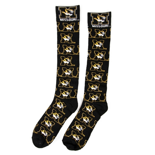 Mizzou Tiger Head Black Dress Socks