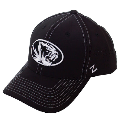 Mizzou Oval Tiger Head Black Stretch Fit Hat