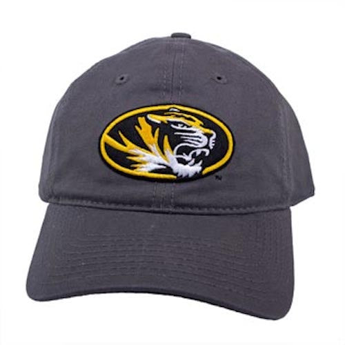 Mizzou Oval Tiger Head Grey Velcro Adjustable Hat