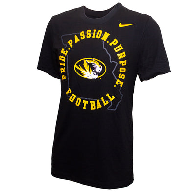 Mizzou Nike® 2020 Dri-Fit Cotton Oval Tiger Head Pride Passion Purpose State Outline Black T-Shirt